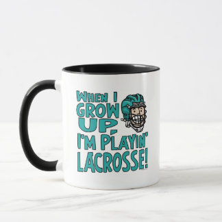 When I Grow Up I'm Playing Lacrosse Teal Helmet Mug