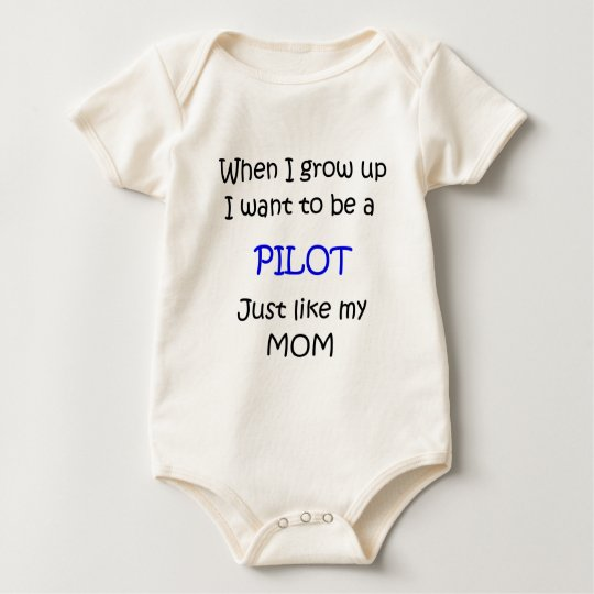 When I grow up Pilot text only Baby Bodysuit
