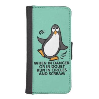 When in Danger or in Doubt  Funny Penguin Graphic Phone Wallet
