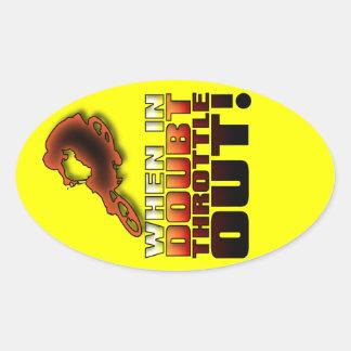 When In Doubt Throttle Out Dirt Bike Motocross Sti Oval Sticker