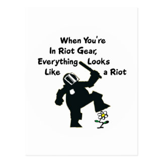When In Riot Gear Everything Looks Like a Riot Postcard