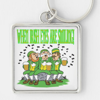 When Irish Eyes Are Smiling Silver-Colored Square Keychain