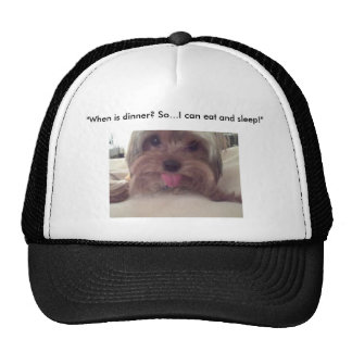 """""""When is dinner? So...I can eat and Sleep! Trucker Hat"""