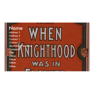 When Knighthood was in Flower Retro Theater Business Card Templates