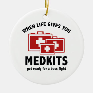 When Life Gives You Medkits Double-Sided Ceramic Round Christmas Ornament