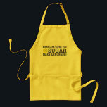 """When Life Gives You Sugar Make Lemonade Adult Apron<br><div class=""""desc"""">Why make lemonade just because life gives you lemons? Why not make it when life gives you sugar too? Is this a pessimistic view on the saying or is it a really smart way to get tasty lemonade?  Now,  go make lemonade wearing this apron!</div>"""