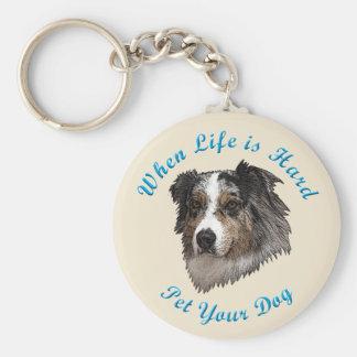 When Life Is Hard (Australian Shepherd) Basic Round Button Keychain