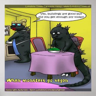 When Monsters Go Vegan Funny Poster