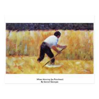 When Mowing (Le Faucheur) By Seurat Georges Postcard