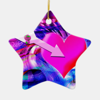 When Music arrow targeted heart Ceramic Ornament