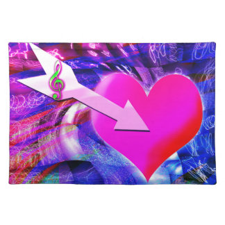 When Music arrow targeted heart Cloth Placemat