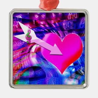 When Music arrow targeted heart Metal Ornament