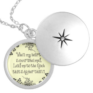 When My Heart is Overwhelmed Bible Verse Round Locket Necklace