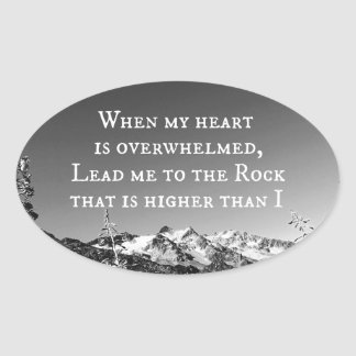 When My Heart is Overwhelmed Bible Verse Oval Stickers