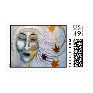 """""""When October Goes"""" Art Postage Stamps"""