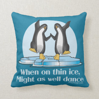 When On Thin Ice Dance Penguins Throw Pillow