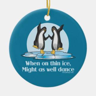 When On Thin Ice Penguins Funny Design Ceramic Ornament