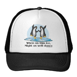 When On Thin Ice Penguins Funny Design Trucker Hats