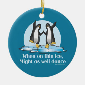 When On Thin Ice Penguins Funny Design Christmas Ornaments
