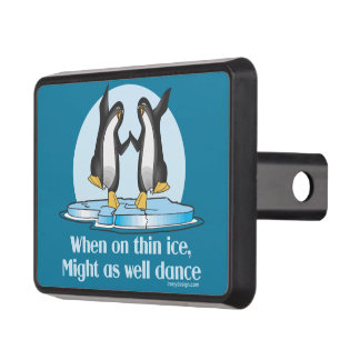 When On Thin Ice Penguins Funny Design Trailer Hitch Cover