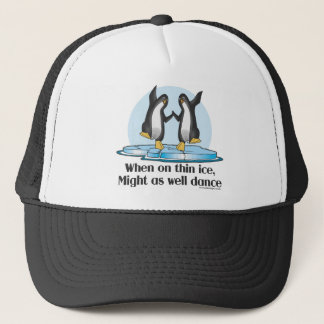 When On Thin Ice Penguins Funny Design Trucker Hat