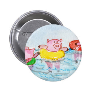 When Piglets Float  - Swimming Pigs Button