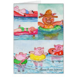 When Piglets Float  - Swimming Pigs Greeting Card