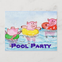 When Piglets Float  - Swimming Pigs Invitation Postcard