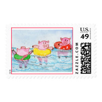 When Piglets Float  - Swimming Pigs Postage
