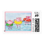 When Piglets Float  - Swimming Pigs Postage Stamps