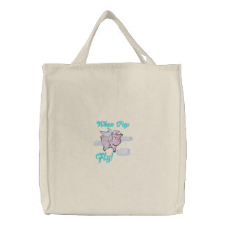 When Pigs Fly Cute Piggy Embroidered Bag
