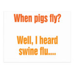 When pigs fly? post card