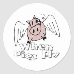 When Pigs Fly Round Sticker
