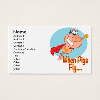 when pigs fly super hero flying piggy pig cartoon business card