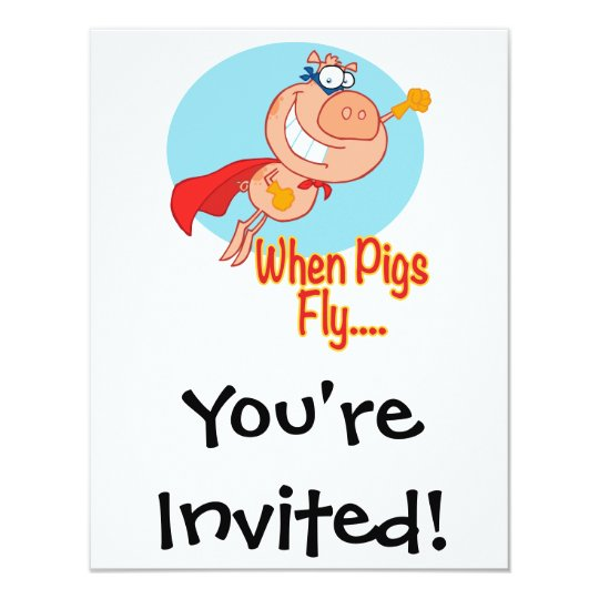 when pigs fly super hero flying piggy pig cartoon card
