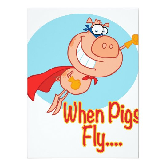 when pigs fly super hero flying piggy pig cartoon card