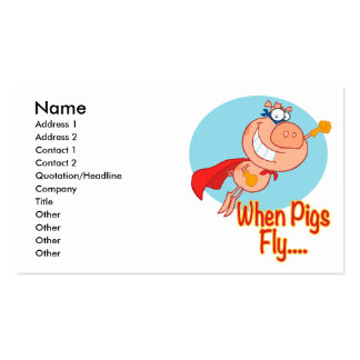 when pigs fly super hero flying piggy pig cartoon Double-Sided standard business cards (Pack of 100)