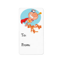 when pigs fly super hero flying piggy pig cartoon label