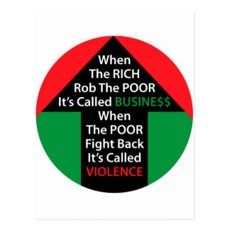 When RICH Rob POOR Called BUSINESS Poor Fight Back Postcard
