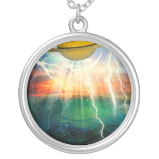 When Saturn Ruled The World Round Pendant Necklace