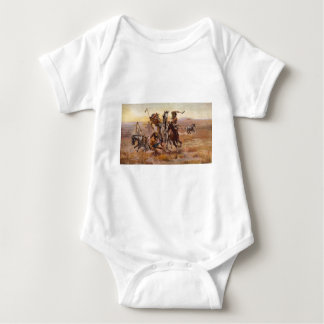When Sioux and Blackfeet Met by Charles M. Russell Baby Bodysuit