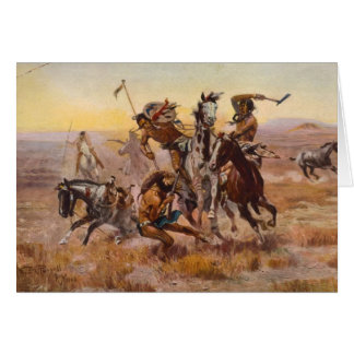 When Sioux and Blackfeet Met by Charles M. Russell Card