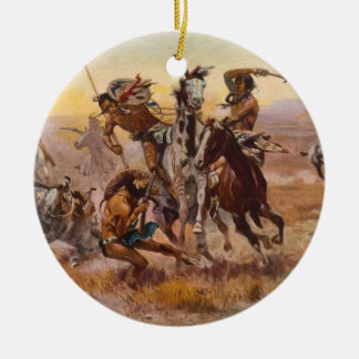 When Sioux and Blackfeet Met by Charles M. Russell Ceramic Ornament