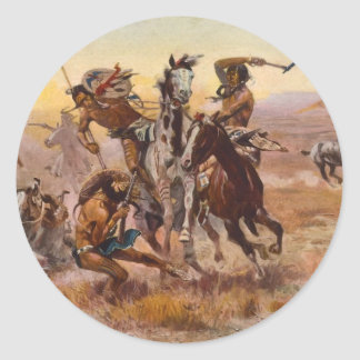 When Sioux and Blackfeet Met by Charles M. Russell Classic Round Sticker
