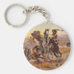 When Sioux and Blackfeet Met by Charles M. Russell Keychains