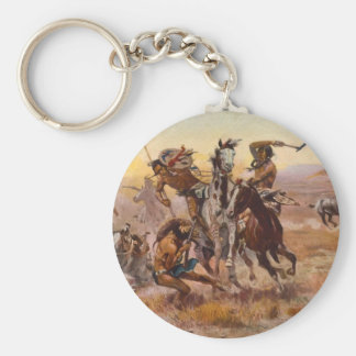 When Sioux and Blackfeet Met by Charles M. Russell Keychain