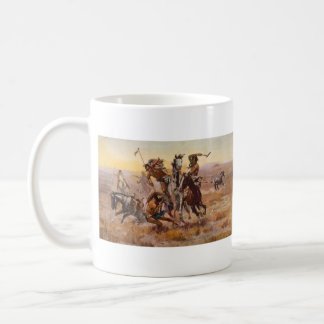 When Sioux and Blackfeet Met by Charles M. Russell Classic White Coffee Mug