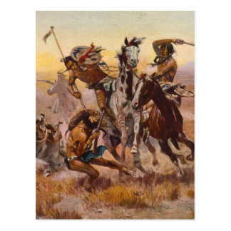 When Sioux and Blackfeet Met by Charles M. Russell Postcard