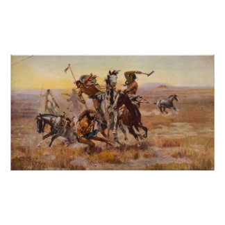 When Sioux and Blackfeet Met by Charles M. Russell Poster