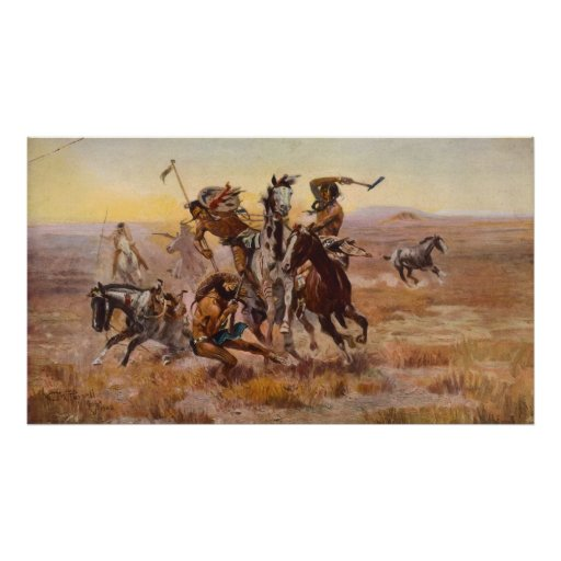 When Sioux and Blackfeet Met by Charles M. Russell Posters